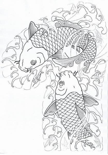 荷花 鲤鱼 水墨展示图片