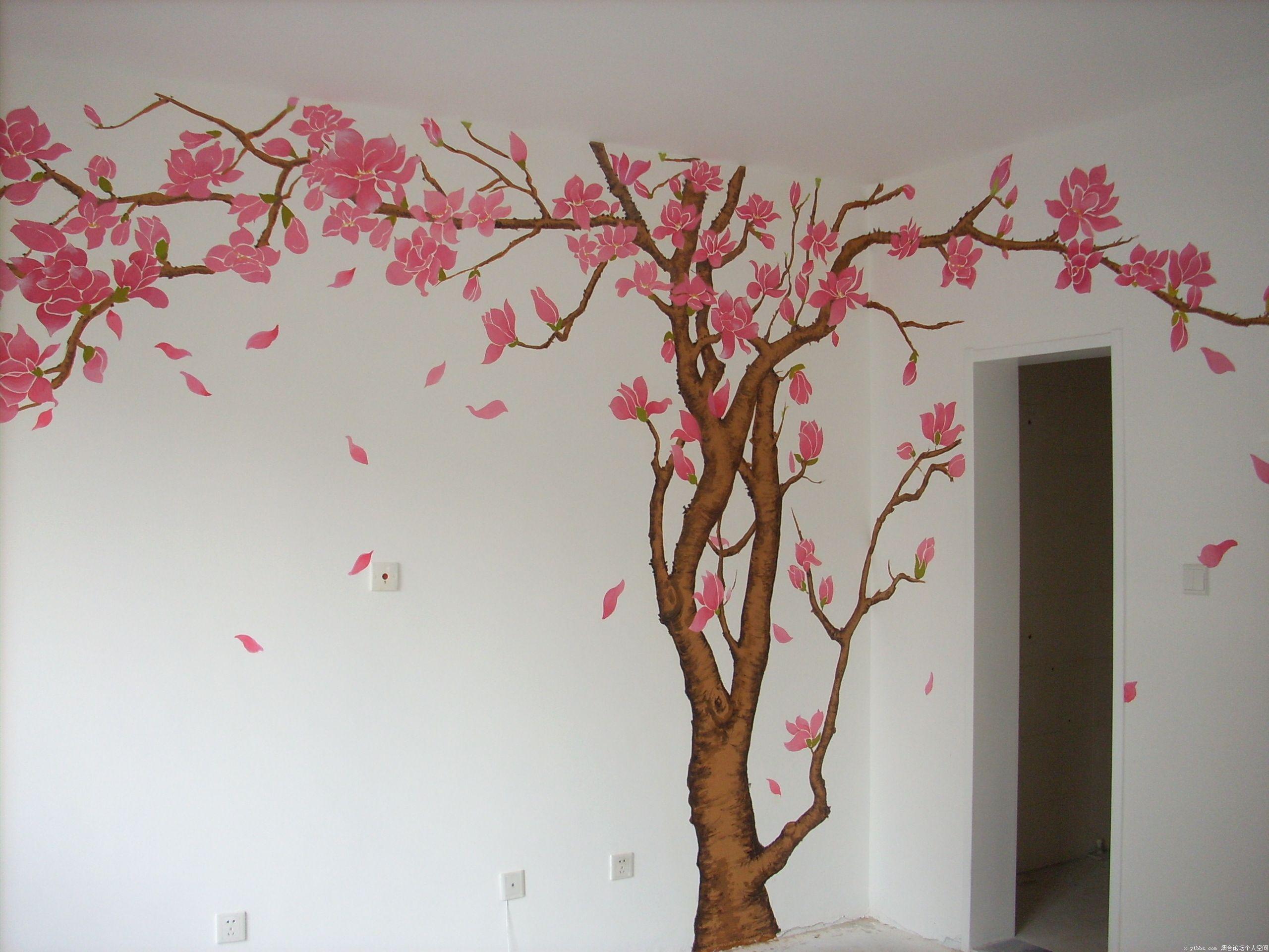 室内手绘玉兰花墙画