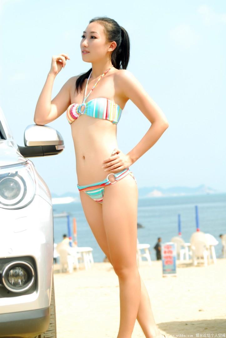 第一海水浴场 比基尼美女车模