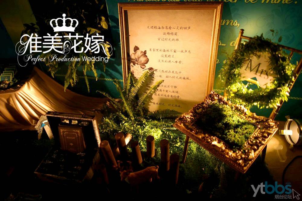 欧式森系婚礼,在室内营造了森林造景