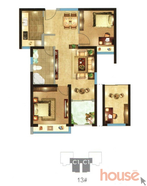 铂悦府C1两室两厅一卫72㎡户型图_副本.jpg