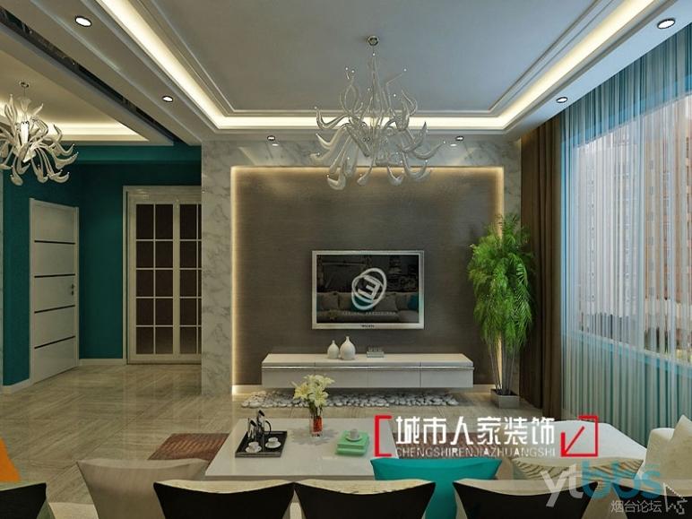 烟台城市人家装饰现代简约风格客厅电视背景墙效果图展示.jpg