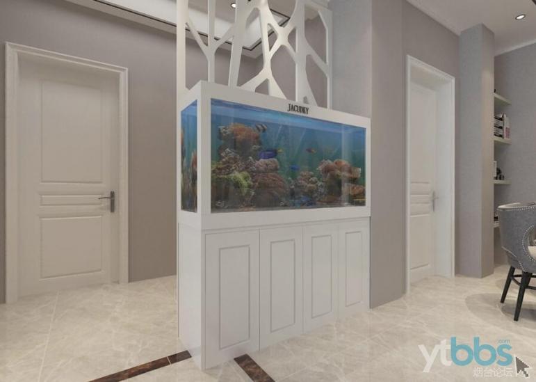 玄关对过鱼缸,一直喜欢干湿分离的卫生间,卫生间想做成干湿分离的,设计师就把小卧室.jpg