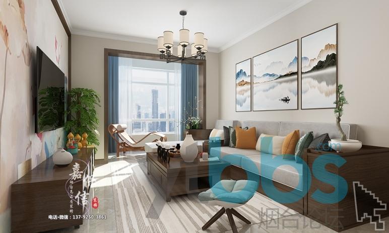 烟台高品质装修公司|芝罘区山湖郡90平三室两厅新中式风格装修案例赏析