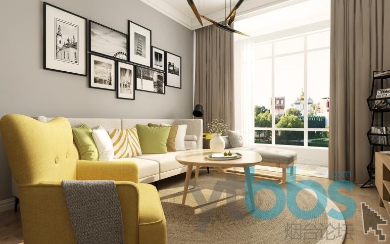 原木地板、高级灰营造出轻松自然的家居氛围。在灰色的空间内,在沙发的抱枕上增加一些多彩的几何图案,为空 ...