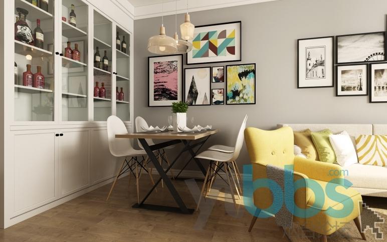 客厅、餐厅一体,空间洋溢着朴实、自然的原木气息,这也正是主人喜欢和向往的杂乱有序的北欧生活。